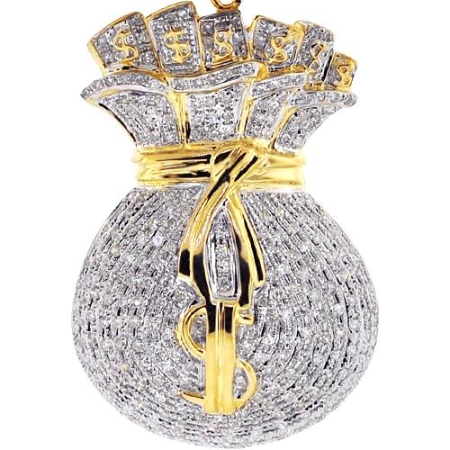 Mens Diamond Dollar Money Bag Pendant 10k Yellow Gold 1 53ct