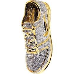 Mens Diamond Sneaker Shoe Pendant 10k Yellow Gold 1 02 Carat