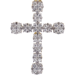 Mens Diamond Cluster Cross Pendant 10K Yellow Gold 1.43ct 1.75""
