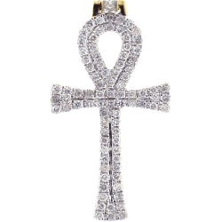 Mens Diamond Egyptian Loop Ankh Cross 10K Yellow Gold 0.46ct