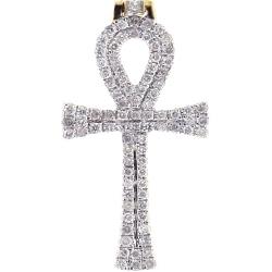 10K Yellow Gold 0.46 ct Diamond Mens Egyptian Ankh Cross