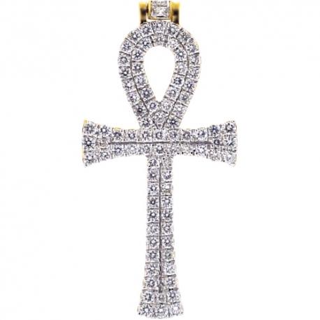 Mens Diamond Egyptian Ankh Cross Pendant 14K Yellow Gold 1.00ct