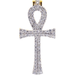 14K Yellow Gold 1.00 ct Diamond Mens Egyptian Ankh Cross