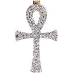 Mens Diamond Large Ankh Cross Pendant 14K Yellow Gold 4.35 ct