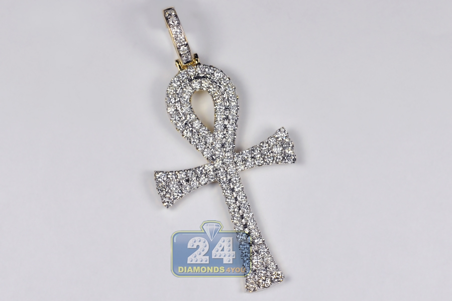 Mens diamond large ankh cross pendant 14k yellow gold 435 ct mozeypictures