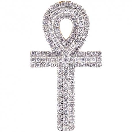 "Mens Diamond Ankh Cross Pendant 14K Yellow Gold 0.66ct 1.5"""