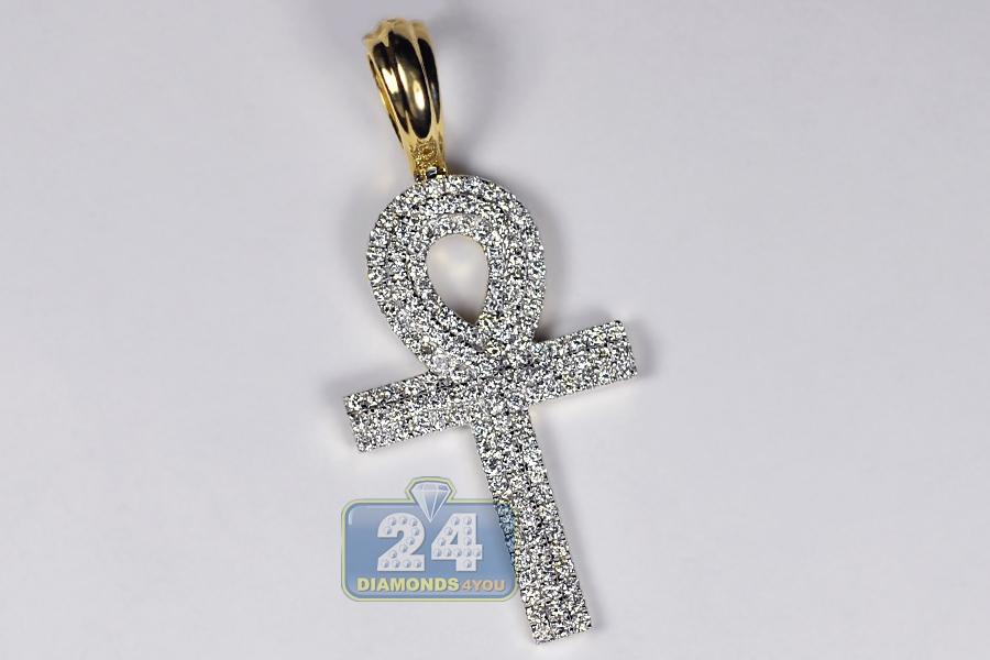 Mens Diamond Pendant Necklace Mens diamond ankh loop cross pendant 14k yellow gold 161ct 2 audiocablefo