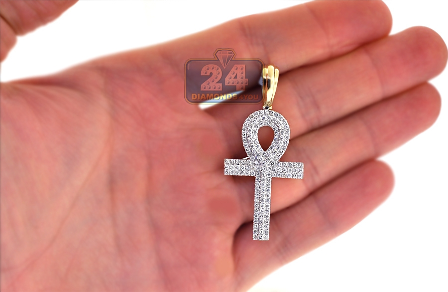 ct cross gold loop mens diamond pendant inch ankh yellow