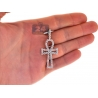 Mens Diamond Ankh Cross Open Pendant 14K Yellow Gold 3.29ct 2""