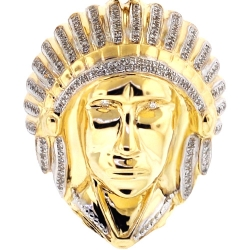 Mens Diamond American Indian Head Pendant 10K Yellow Gold 0.29ct