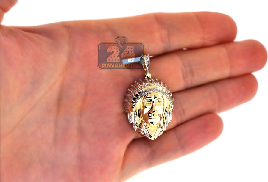 Mens Diamond American Indian Head Pendant 10K Yellow Gold 0 29 ct