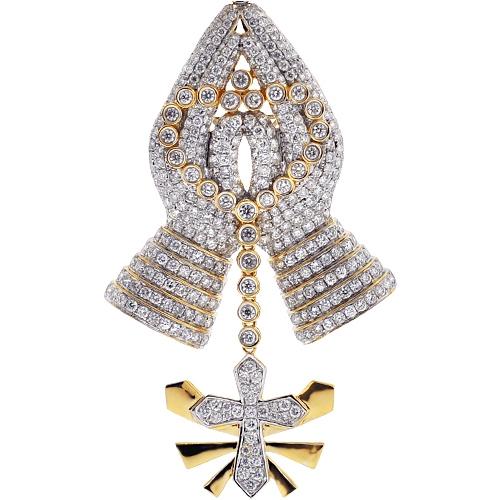 Mens diamond praying hands cross pendant 14k yellow gold 582 ct aloadofball Images