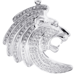 10K White Gold 0.79 ct Diamond Lion Head Mens Pendant