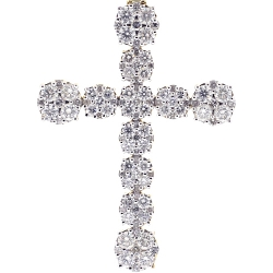 Mens Diamond Cluster Cross Pendant 10K Yellow Gold 7.38 ct 2.8 inch