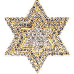 10K Yellow Gold 0.68 ct Diamond Star of David Jewish Pendant