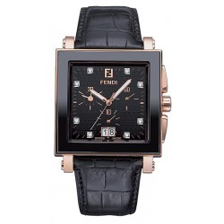 F654111D Fendi Black Ceramic Square Rose Gold Diamond Watch 38mm