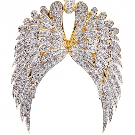 Mens Diamond Two Angel Wings Pendant 10K Yellow Gold 1.25ct