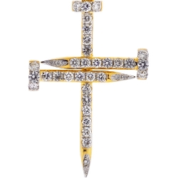 Mens Diamond Nail Cross Religious Pendant 14K Yellow Gold 1.22ct