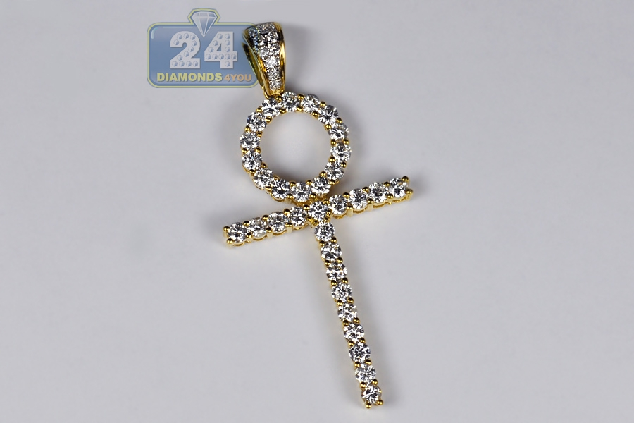 Mens diamond egyptian ankh cross pendant 18k yellow gold 201 ct audiocablefo