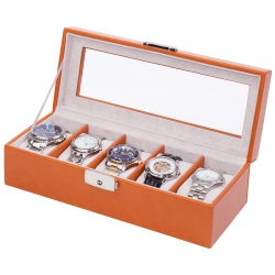5 Watch Display Storage Box W93013 Orbita Roma Saddle Leather