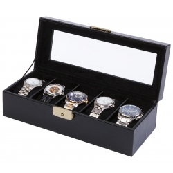 5 Watch Display Storage Box W93014 Orbita Roma Black Leather