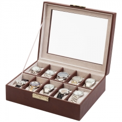 10 Watch Display Storage Box W93009 Orbita Roma Brown Leather
