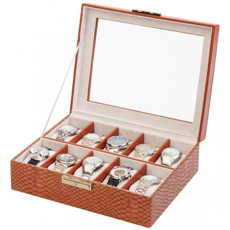 10 Watch Display Storage Box W93010 Orbita Roma Lizard Leather