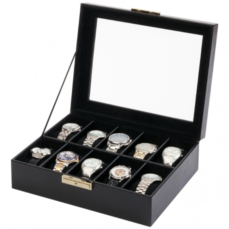 10 Watch Display Storage Box W93011 Orbita Roma Black Leather