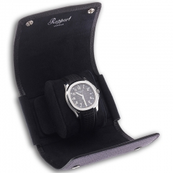 Single Watch Roll Travel Box D190 Rapport Berkeley Black Leather