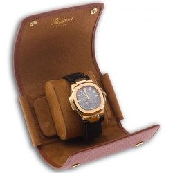 Single Watch Roll Travel Box D191 Rapport Berkeley Brown Leather