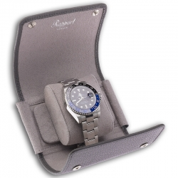 Single Watch Roll Travel Box D192 Rapport Berkeley Gray Leather