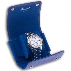 Single Watch Roll Travel Box D193 Rapport Berkeley Blue Leather