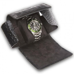 Single Watch Roll Travel Box L116 Rapport Portman Black Leather