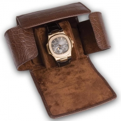 Single Watch Roll Travel Box L117 Rapport Portman Brown Leather