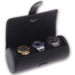 Triple Watch Roll Travel Box D180 Rapport Berkeley Black Leather