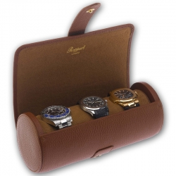 Triple Watch Roll Travel Box D181 Rapport Berkeley Brown Leather