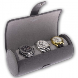 Triple Watch Roll Travel Box D182 Rapport Berkeley Gray Leather