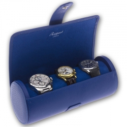 Triple Watch Roll Travel Box D183 Rapport Berkeley Blue Leather