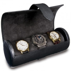 Triple Watch Roll Travel Box L108 Rapport Portman Black Leather