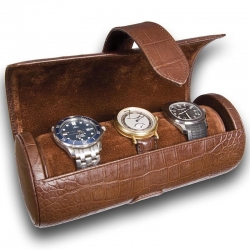 Triple Watch Roll Travel Box L109 Rapport Portman Brown Leather