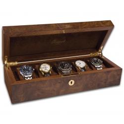 Rapport Portman Walnut Burl 5 Watch Storage Case L274