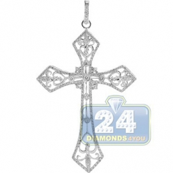 14K White Gold 1.12 ct Diamond Mens Vintage Cross Pendant
