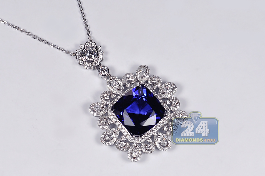 Womens blue sapphire diamond pendant necklace 18k gold 1833 ct aloadofball Image collections