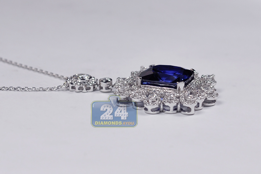 Womens blue sapphire diamond royal pendant necklace 18k gold aloadofball Image collections