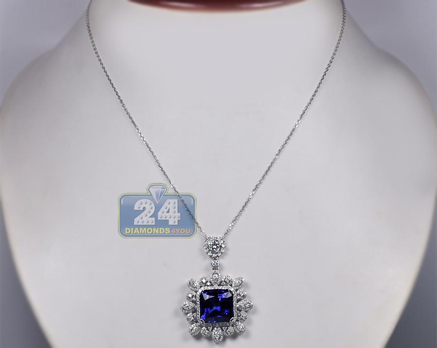 Womens Blue Sapphire Diamond Royal Pendant Necklace 18k Gold
