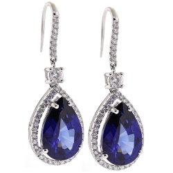 Womens Blue Sapphire Diamond Hook Earrings 18K White Gold 18.26 ct