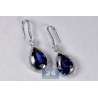 Womens Sapphire Diamond Hook Earrings 18K White Gold 18.26 ct