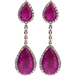Womens Ruby Diamond Drop Earrings 18K Rose Gold 17.30 ct