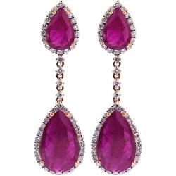 18K Rose Gold 17.30 ct Ruby Diamond Womens Drop Earrings