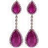 Womens Ruby Diamond Drop Halo Earrings 18K Rose Gold 17.30 ct